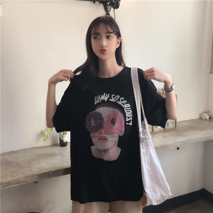 实拍实价~韩版复古宽松印花原宿风个性短袖T恤女~已检测 428#
