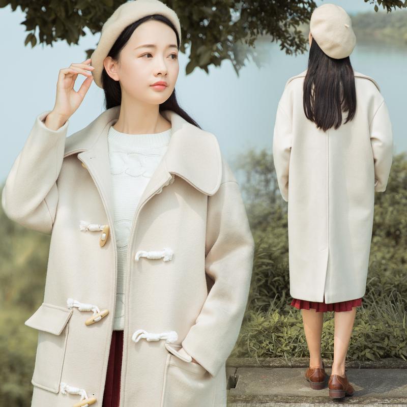 【7419#不低于189】ins牛角扣过膝呢子大衣韩国冬装宽松加厚显瘦