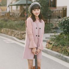 实拍现货2018春新款连衣裙女装毛呢打底裙针织马甲套装裙子两件套