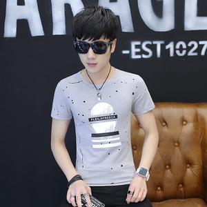 2018夏季新款男短袖t恤 纯色t恤男圆领体恤 纯棉修身打底衫6603#