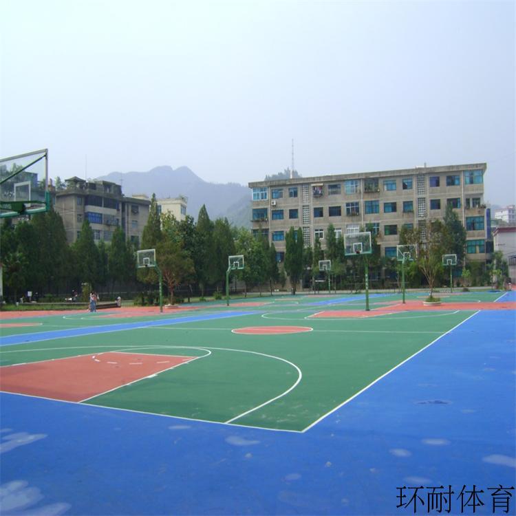 湖北江陵丙烯酸篮球场地坪材料室外塑胶运动地板翻新硅PU网球场