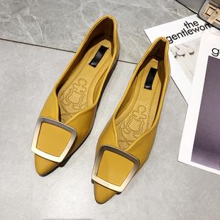 单鞋女尖头方扣工作鞋百搭小清新鞋