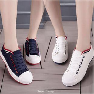 新镶边休闲帆布鞋纯色百搭休闲鞋低帮薄底布鞋潮小白鞋学生鞋