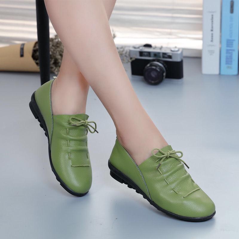 真皮一脚蹬春秋平跟韩版休闲单鞋豆豆鞋懒人女鞋平底妈妈鞋