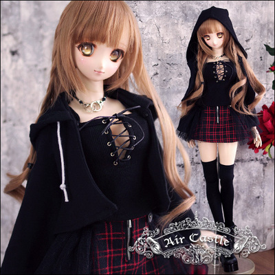 42agent Air Castle street style punk small cloak set black 1/3 DD BJD baby clothes - Taobao