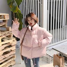 实拍 韩版宽松加厚单排扣短款立领双口袋面包服棉服外套女