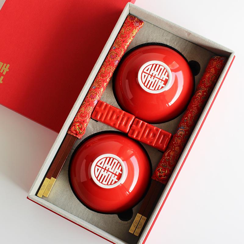 结婚红色陶瓷喜碗一对,送朋友新婚礼品