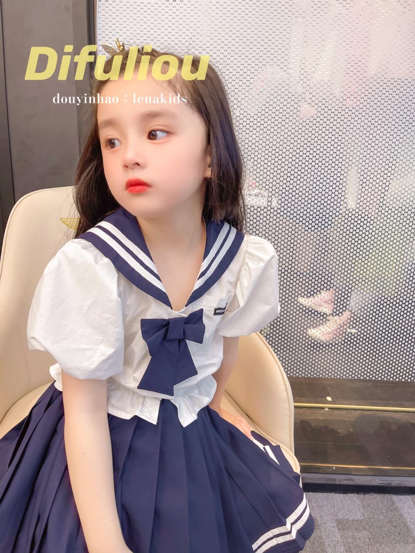 2021 Taobao Girls' summer navy style dress