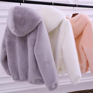 Mink fur coat ngắn trùm đầu của phụ nữ 2017 mùa đông mới dày sinh viên lỏng sang trọng giải phóng mặt bằng áo