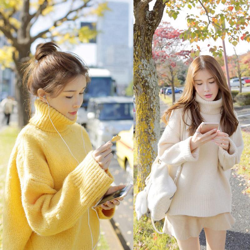 2018秋冬新款针织打底衫宽松韩版套头学生网红高领毛衣10