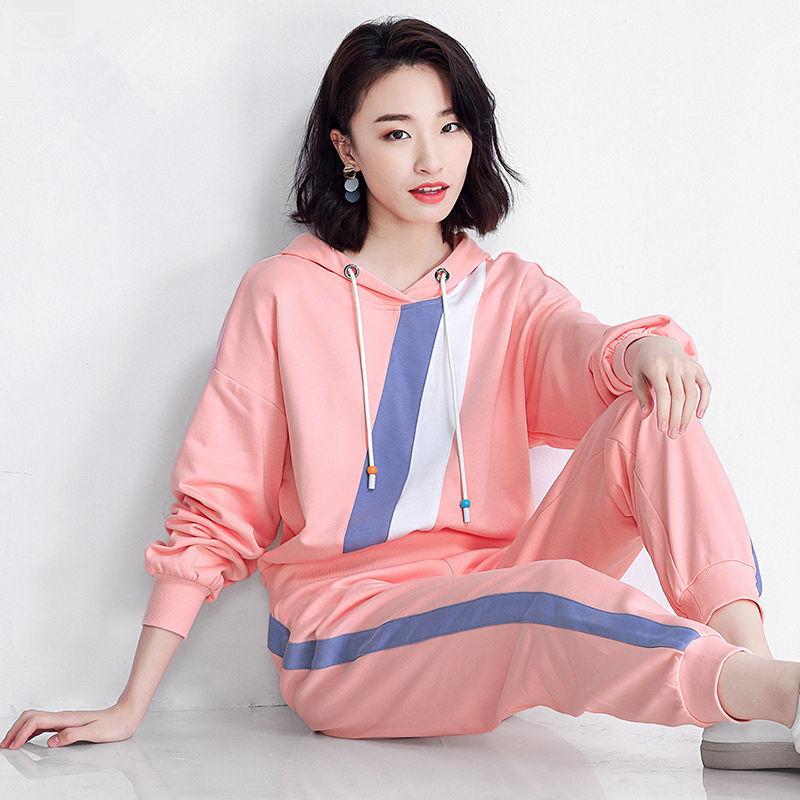棉质秋季新款套装女运动服两件套韩版宽松大码时尚卫衣休闲裤子