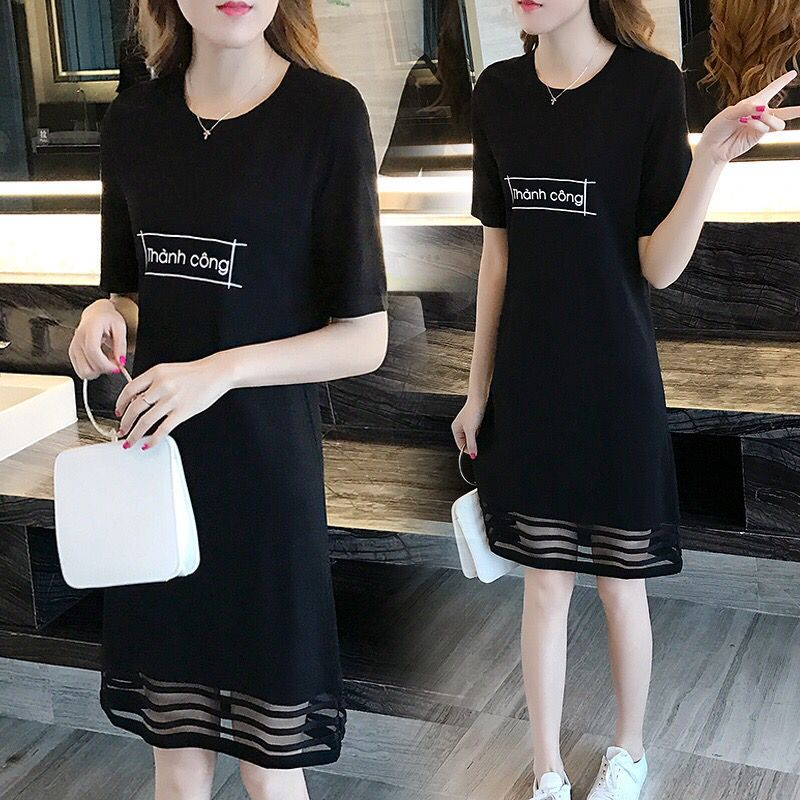 2019夏季新品连衣裙女装拼接蕾丝打底衫上衣中长款字母短袖T恤