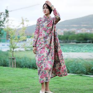 2020秋冬款女改良旗袍民族风女装棉麻长款盘扣袍子中式复古连衣裙
