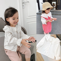 Chenchen Mom Baby Kids Wear 2019 New Children Spring Long Long Girls Girls Baby Lotus Leaf Doll Shirt White Top