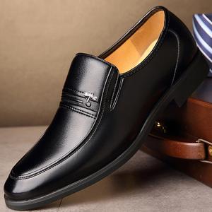 男士春秋商务正装皮鞋中老年套脚软底软面黑色爸爸皮鞋