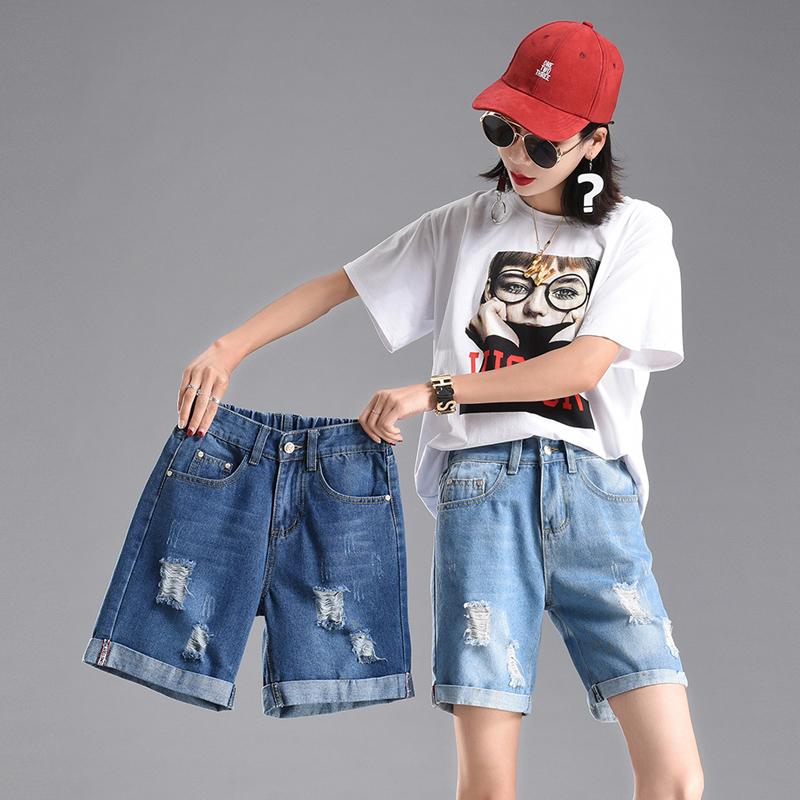 Đàn hồi eo của phụ nữ quần short jeans 2018 mùa hè lỏng mỏng đàn hồi năm quần kích thước lớn lỗ ống túm chân rộng