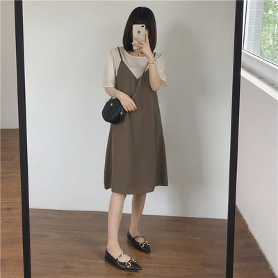 taobao agent Muzi 2021 summer / Tencel fake two-piece temperament, gentle, comfortable and cool, thin loose dress, suspender skirt