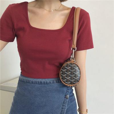 taobao agent Muzi 21 autumn/elegant swan neck two collar types front and back wear elastic slim short T-shirt women short sleeves
