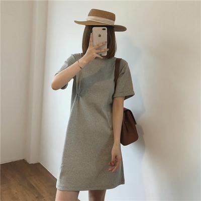 taobao agent Muzi 21 summer/comfortable holiday homemade knotted op skirt cotton round neck short-sleeved dress short skirt t-shirt skirt