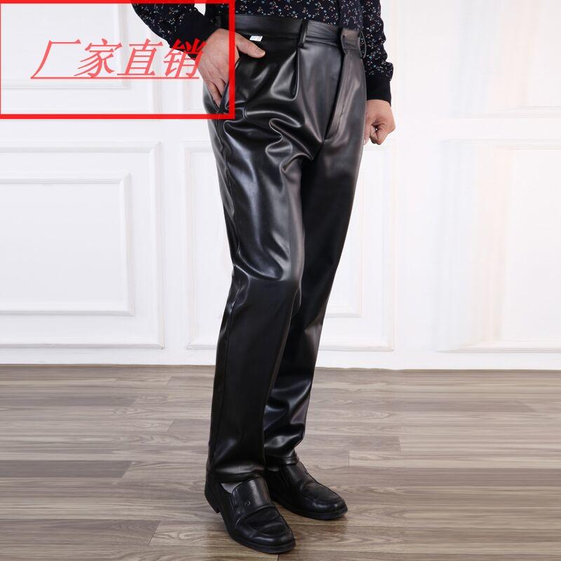 Mùa xuân và mùa hè người đàn ông mới của quần da thẳng kích thước lớn xe máy quần da windproof không thấm nước lỏng trung niên windproof PU quần