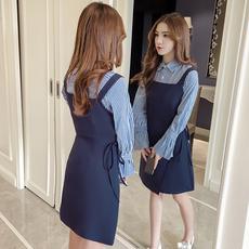 条纹娃娃领连衣裙两件套小清新新款女装春装学院风显瘦学生背带裙
