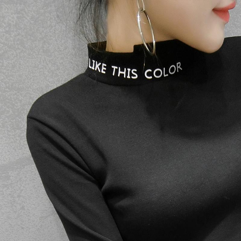 7234#实拍女装半高领打底衫2018新款修身长袖字母t恤韩版加绒上衣