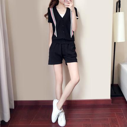 时尚运动服女2018夏装新款冰丝针织韩版短袖短裤休闲套装两件套潮