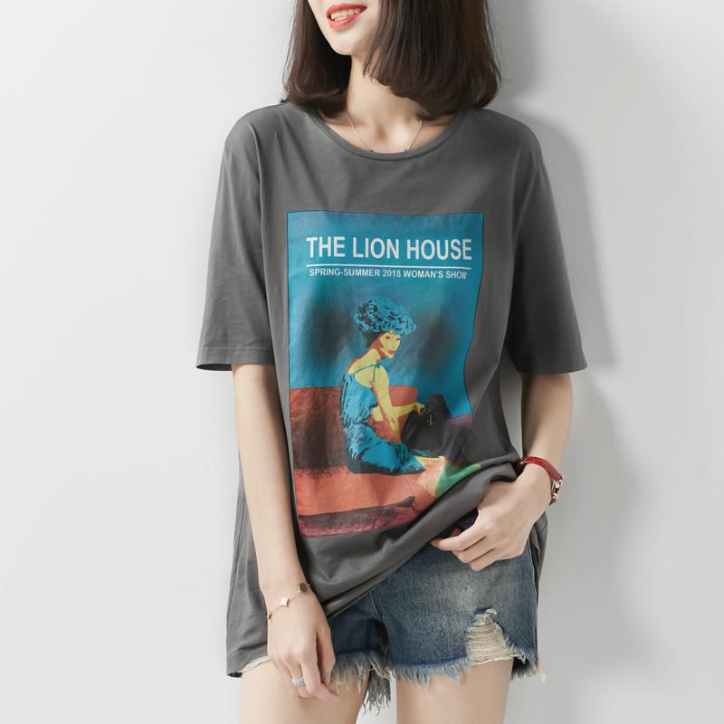 の [TX192576MG] Cười Hange retro hơi thở sơn cô gái mô hình cotton tự nhiên vòng cổ ngắn tay T-Shirt