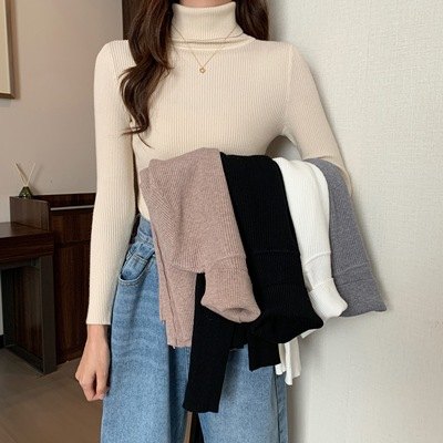taobao agent Women's sweaters 2021 new high-necked bottoming shirt women spring and autumn with a foreign style all-match black knit sweater top