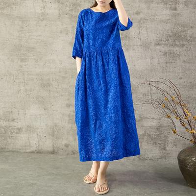 Yi Mian retro du lịch bảy tay áo muối thu nhỏ đầm eo cao váy dài mùa hè sản phẩm mới áo choàng