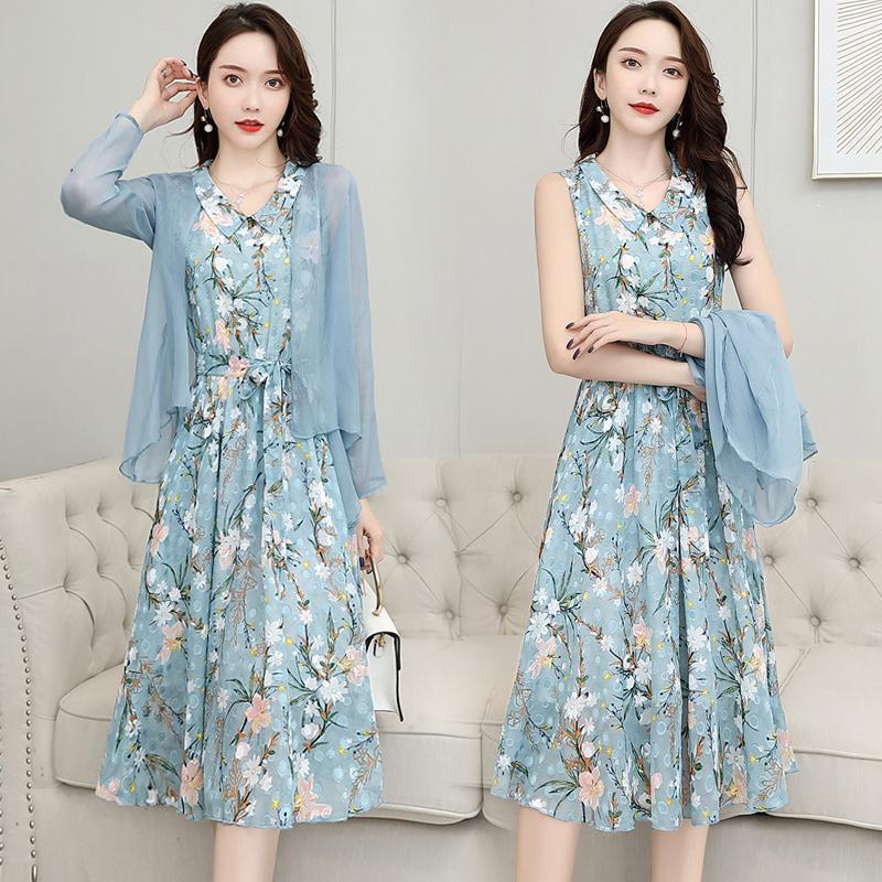 雪纺连衣裙女遮肚韩版夏季长裙套装