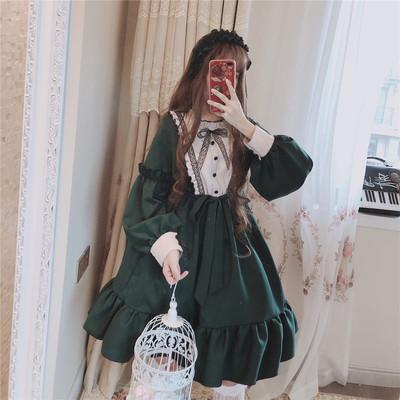 taobao agent Send hair hoop funny sauce original autumn and winter Downton Manor Gothic Lolita palace dress dark cross dress