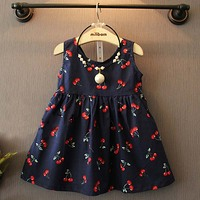Cô gái trẻ em Ocean Cherry In Cotton Joker Dress Sling Dress Kids Wear 2019 Spring New 3002