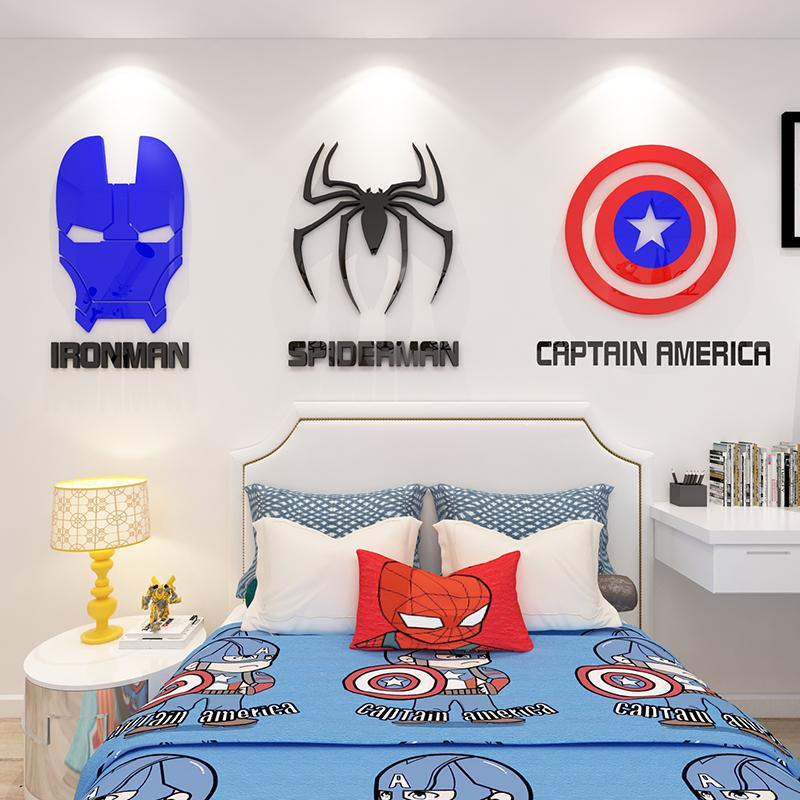 卡通动漫标志墙贴3d立体儿童房间布置男生卧室床头墙面装饰钢铁侠