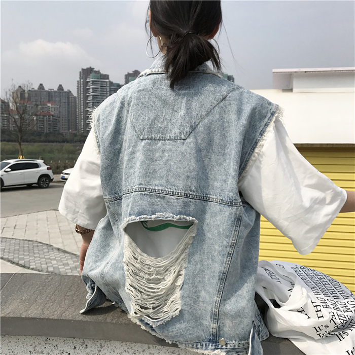 Vest nữ mùa xuân và mùa hè Hàn Quốc phiên bản mới lỗ lớn để làm cũ nguyên lỏng denim tay áo khoác sinh viên áo khoác vest