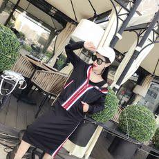 《实拍》8204#新款时尚撞色长袖连帽拉链开衫+半身裙两件套