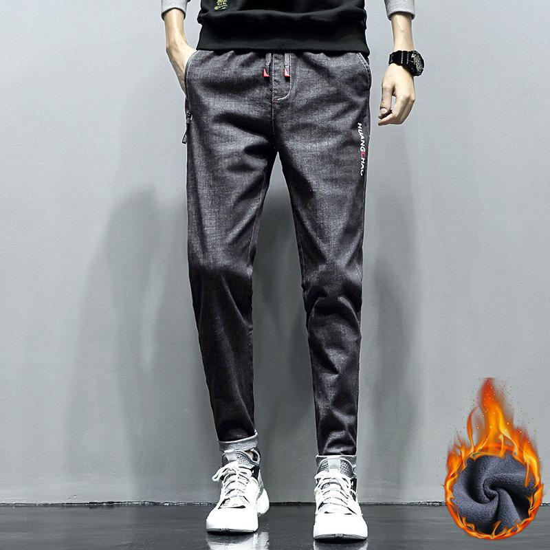 秋冬季新款加绒牛仔裤男 韩版流行长裤子薄款 青年时尚男士休闲裤