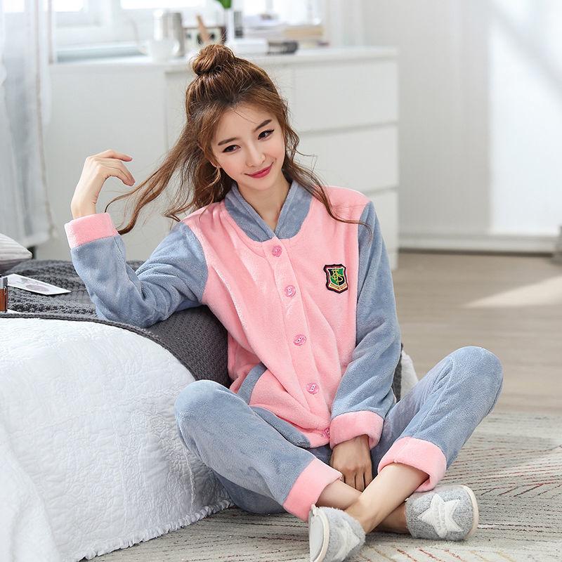 韩版开衫套装珊瑚绒保暖家居服