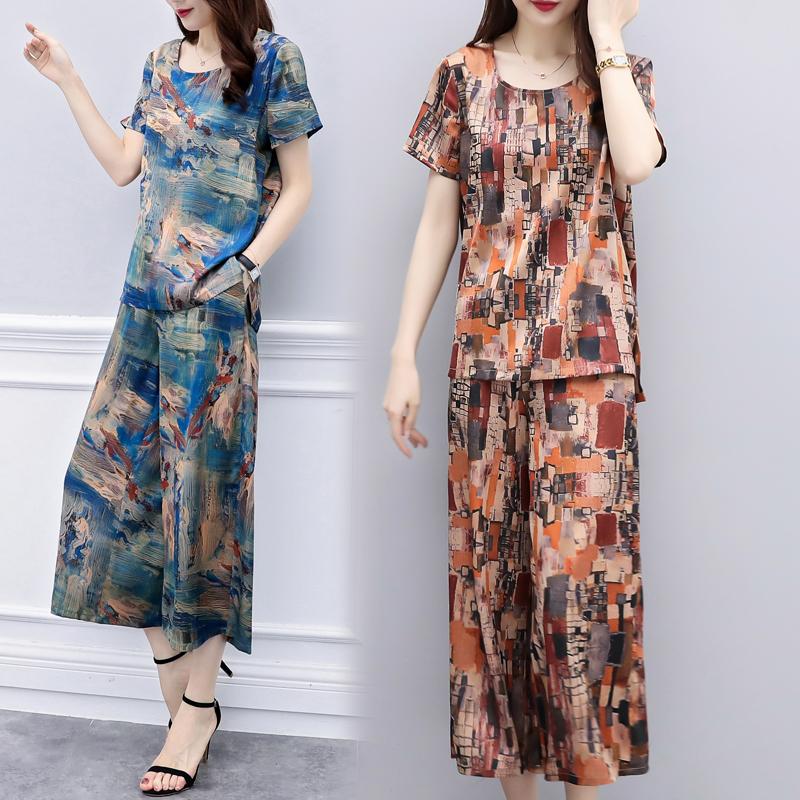 Lụa phù hợp với phụ nữ thời trang hai mảnh 2018 mới lỏng mẹ tính khí rộng chân quần phụ nữ lụa áo sơ mi