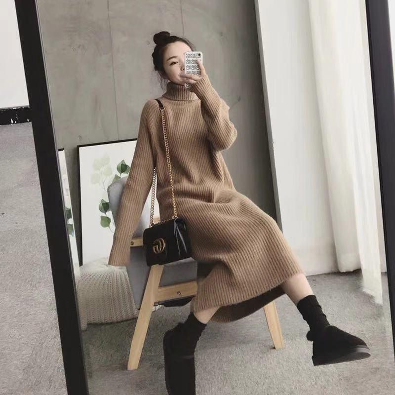 中长款毛衣裙过膝女秋冬加厚针织打底连衣裙