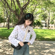实拍实价秋季新品韩范学院风小清新卡通刺绣休闲长袖衬衫女