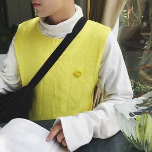 针织衫毛衣笑脸马甲 BX95/p40 港风ins店主原宿休闲日系