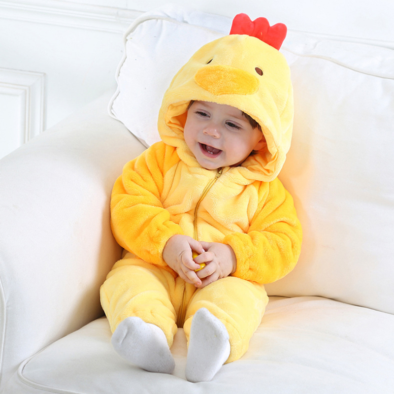 3624cdada1f Baby Chicken Clothes Thick Warm Romper Pajamas Foot Winter Wear