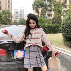 实拍实价新款网红慵懒毛衣俏皮+毛呢格子半身裙+网红袜时髦三件套