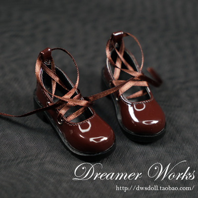 taobao agent BJD/SD doll shoes 4 points 3 points Bright brown ribbon shoes Black and brown two-color selection 1/3, 1/4