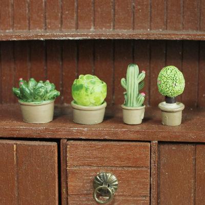 taobao agent Mini cactus potted 4 succulents ornaments 6 points BJD doll cloth OB27 doll house props OB11