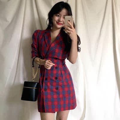 Hàn Quốc sang trọng phong cách retro kẻ sọc đôi ngực bong bóng vai tính khí eo phù hợp với ve áo ngắn tay đầm