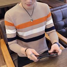 质检报告2018秋新男式毛衣条纹圆领修身青少年薄款针织衫韩版337#
