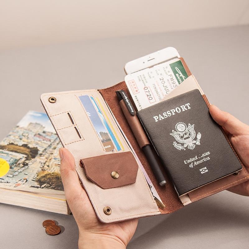 Châu âu và Hoa Kỳ retro tài liệu gói mềm head lớp da đơn giản gói thẻ du lịch hộ chiếu giữ da nam giới và phụ nữ ví túi điện thoại