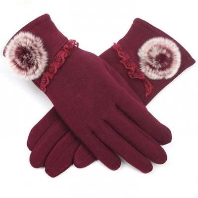 手套女冬天加绒加厚保暖秋季薄款五指开车骑行可触屏手套